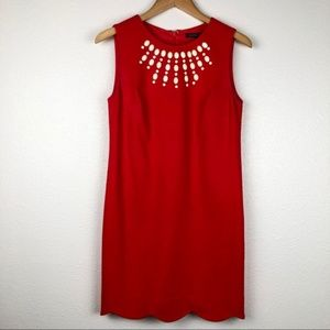 Cynthia Steffe red beaded Scalloped Shift dress, 6